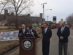 State Sen. Tim Kennedy, Mayor Byron Brown, Rep. Brian Higgins and Public Works Commissioner Steve Stepniak kicked off the Ohio Street Reconstruction Project Tuesday.