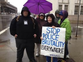 People protested against alleged police brutality in front of Buffalo Police headquarters in downtown Buffalo.