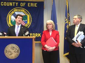 County Executive Mark Poloncarz with Social Services Commissioner Carol Dankert-Maurer and Deputy County Executive Richard Tobe