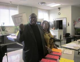 District Parent Coordinating Council president Sam Radford & parent Timeka Jones met last fall with reporters about forged documents.