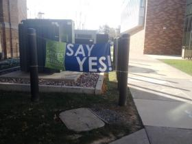 Say Yes Buffalo banner outside Medaille College, one of the schools participating in the scholarship program.