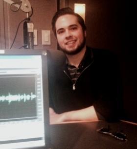 Buffalo State student Simon O'Keefe in the WBFO studio.