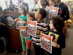 Bennett Park Montessori students at Mayor's kick-off of summer reading challenge.