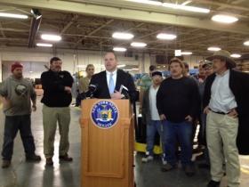 Senator Tim Kennedy discussing local manufacturing.