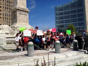 Catholic school children rally in Niagara Square for Education Investment Tax Credit.