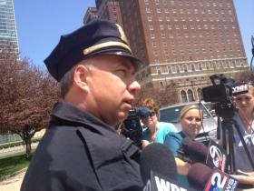 Buffalo Police Commissioner Daniel Derenda meets with reporters in Niagara Square Tuesday to discuss shooting.