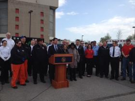 """Erie County Executive Mark Poloncarz joined by Erie County Commissioner of Emergency Services Dan Neaverth Jr. and public officials as they kick off """"EMS Week."""""""