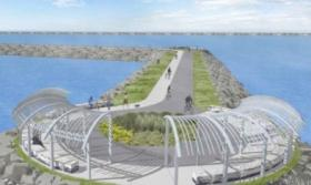 "An artist's rendering of the ""destination playground"" planned for the state park along the Outer Harbor."