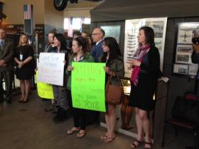 Protesters joined A.G. Schneiderman in calling for passage of the Micorbead-Free Water Act.