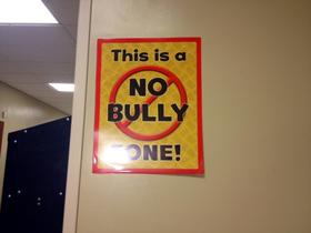 Anti-bully sign posted inside Lorraine Elementary in Buffalo.