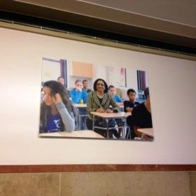 Photo of Superintendent Brown on the wall outside Board of Education office on eight floor of City Hall.