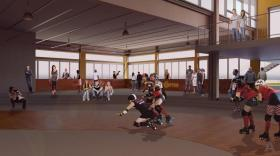 Rendering of the Queen City Roller Girls roller derby track at Buffalo RiverWorks.