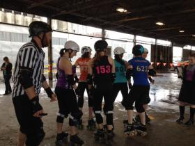 Queen City Roller Girls league taking part in a mock practice.