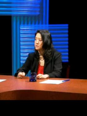 Buffalo News Education reporter Sandra Tan's recent appearance for WNED/WBFO interviews on the WNED-TV set for school board candidate interviews.