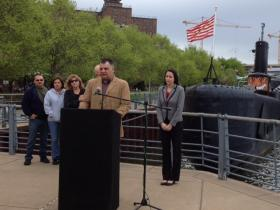William Sager Jr.'s father and fiancee spoke Friday morning at the Buffalo Naval Park.