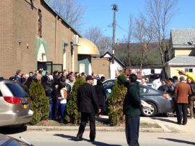 People file out of the mosque on Buffalo's West Side.
