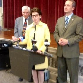 New York State Regents Chancellor Tish appears at Grover Cleveland High School in Buffalo Thursday.