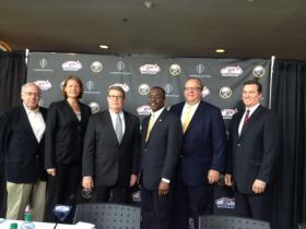 Jeff Sauer with IPC Ice Sledge Hockey, Reagan Carey with IIHF U18, USA Hockey Executive Director Dave Ogrean, Mayor Byron Brown, President of HARBOR CENTER John Koelmel and Buffalo Sabres President Ted Black.