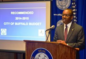 Mayor Brown unveiled his recommended 2014-2015 spending plan Thursday.