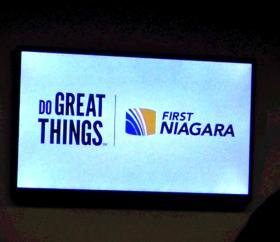 First Niagara presentation announcing funding for small business loans.