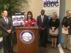 The BUDC's Brandye Merriweather outlined the process of obtaining the housing funding.