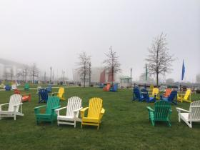 Planners expect these Adirondack chairs to be filled most days this summer at Canalside.