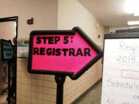 Buffalo Public School District registration sign.