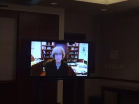 Susan King was part of the announcement via Skype.