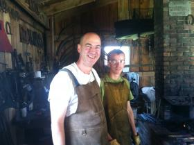 Father and son blacksmiths, Dave and Danny Ott, exhibit their work at the Wyoming County Fair.