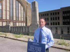 Republican gubernatorial candidate Rob Astorino stopped at Buffalo's Central Terminal on Tuesday.