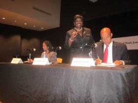 Assembly member Crystal Peoples-Stokes was all smiles before her debate with Veronica Nichols and Antoine Thompson.