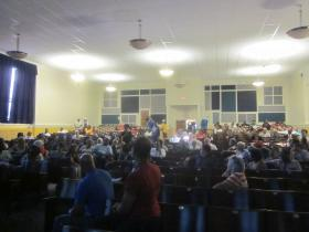 A large, interested crowd packed School 61 to hear plans for the former site of Central Park Plaza.