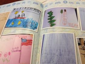 Student artwork inside the book.