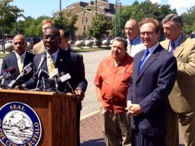 Mayor Byron Brown and local leaders announce construction to begin on Niagara Street.
