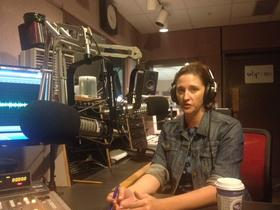 Buffalo News education reporter Tiffany Lankes in WBFO studio.