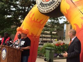 National Buffalo Wing Festival Founder Drew Cerza joined by President and CEO of Visit Buffalo Niagara Patrick Kaler and Mayor Byron Brown.