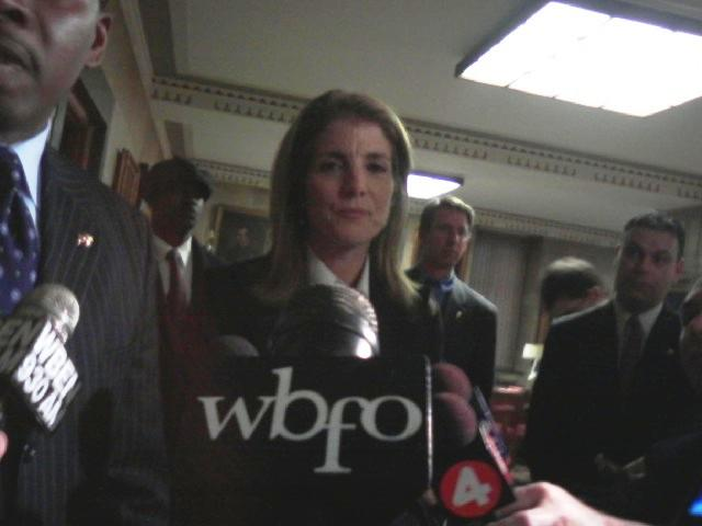 Caroline Kennedy takes questions with reporters after meeting with Buffalo Mayor Byron Brown at City Hall