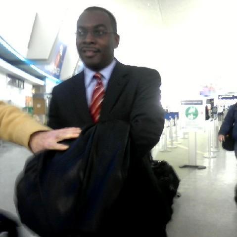 Mayor Byron Brown arriving at the Buffalo Niagara International Airport