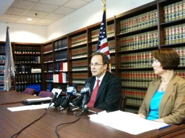 U.S. Attorney William Hochul and chief of civil division, attorney  Mary Pat Flemming discuss agreement for jail
