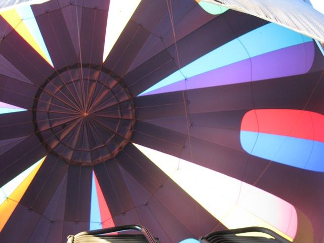 Inside the hot air balloon