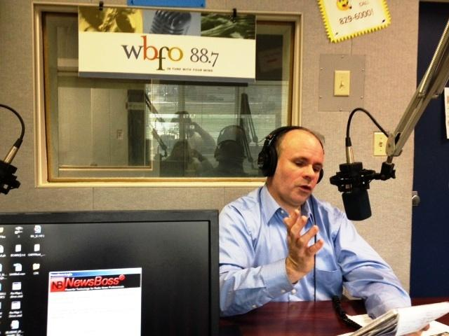 Buffalo News reporter Brian Meyer in the WBFO News studio