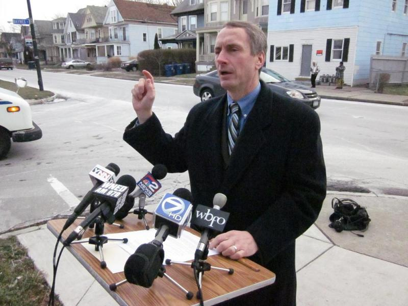 State Assemblyman Sean Ryan criticized the NFTA's plans to cut a quarter of its bus service in April.  He stood at the corner of Baynes and West Ferry, along one of the routes slated for shutdown.