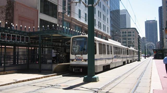 Metro rail line above ground on Main Street, downtown Buffalo