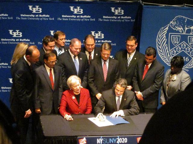 Governor Andrew Cuomo signs UB2020 grant at Amherst campus Tuesday
