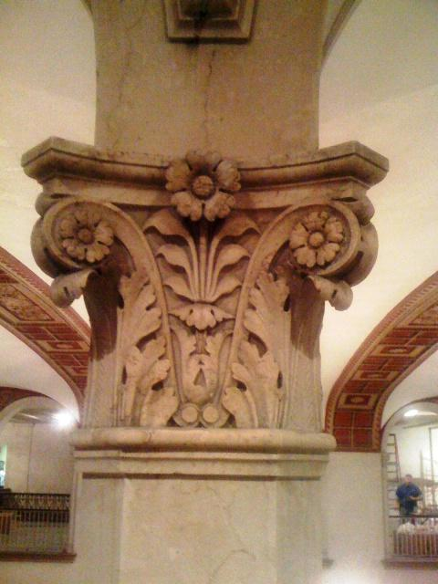 Glorious original carved columns inside the Statler