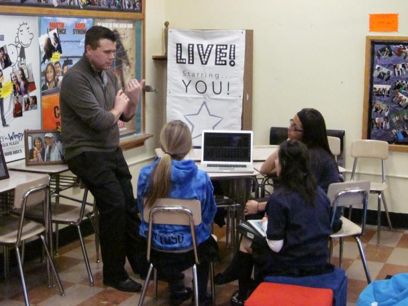 "Tim O'Shei instructs students at Mount St. Mary Academy in Tonawanda in his ""Live...Starring You!"" program, which educates students in journalism while involving them in entertainment media, including actual interviews with celebrities."