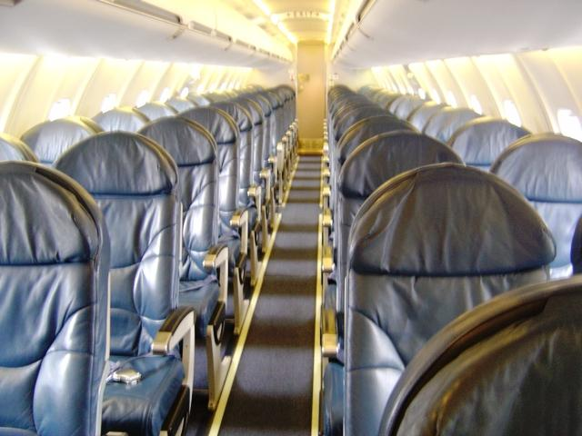 Seating inside Delta's Canadair CRJ-700