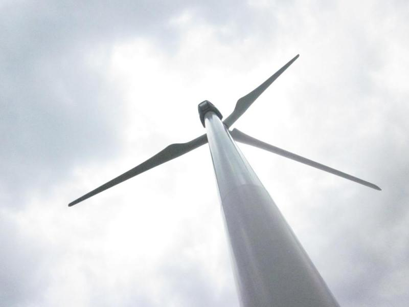 A view from under one of the wind turbines.