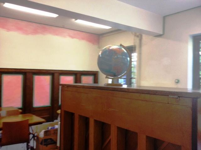 A globe for learning sits in the Wistera's first grade classroom that is being painted for the start of the school year