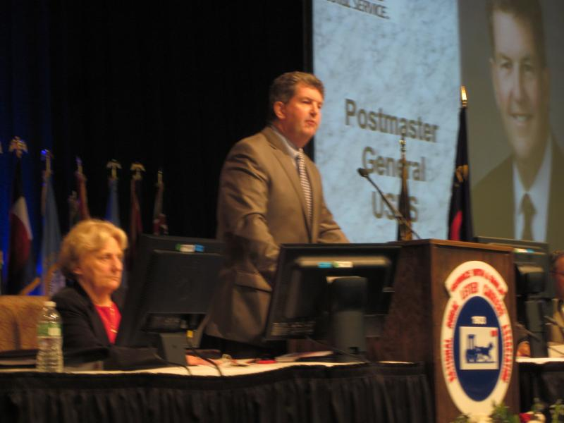 Patrick Donahoe spoke to the National Rural Letter Carriers Association Convention Tuesday in Buffalo.